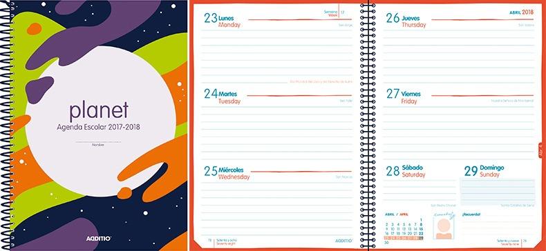 Agenda escolar PLANET detalle 2