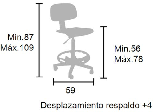 Taburete respaldo y ruedas haya