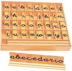 Alfabetos cursiva en madera
