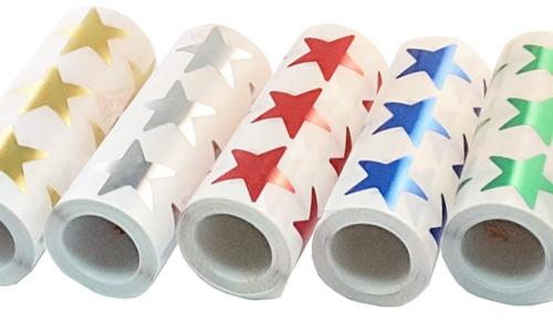 Rollos de gomets estrellas XL metalizadas