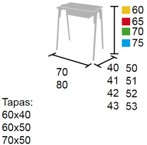 Pupitre apilable con tablero de 60 x 40 cm detalle 2