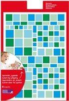 Gomets multicolor cuadrados azules