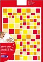 Gomets multicolor cuadrados rojos