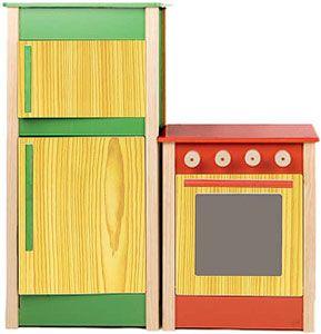 Cocina y frigorífico madera juguete