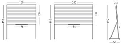 Pizarra blanca de acero vitrificado pentagramas con soporte en D detalle 1