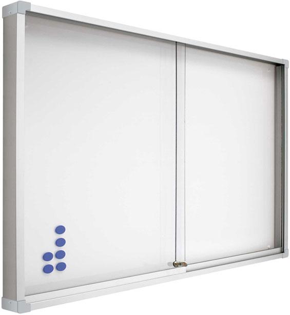 Vitrinas con puertas correderas, fondo magnético