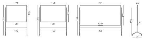Tamaños pizarra blanca acero vitrificado marco MINI soporte Y