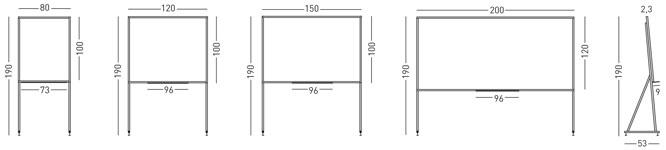 Tamaños pizarra blanca av marco mini soporte d