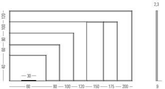 Tamaños pizarra blanca lacada marco MINI