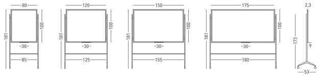 Tamaño pizarra vidrio con marco y soporte Y