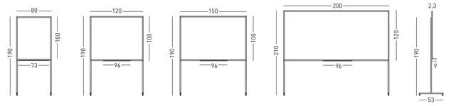 Tamaños pizarra acero vitrificado marco Mini y soporte T