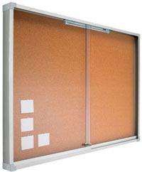 Vitrinas con puertas correderas, fondo corcho detalle 1