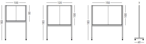 Vitrinas con puertas correderas, fondo corcho con pies detalle 1