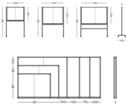Vitrinas con puertas correderas, fondo corcho con pies detalle 5