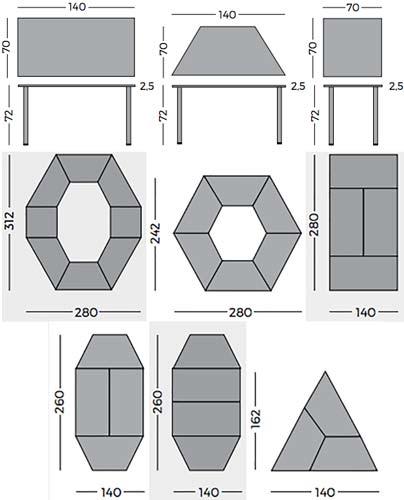 Mesas modulares color haya detalle 3