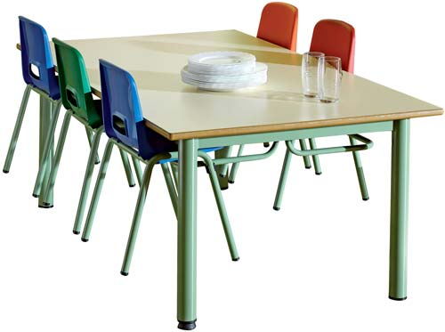 Mesa colectiva escolar T6 (para sillas para colgar) detalle 1