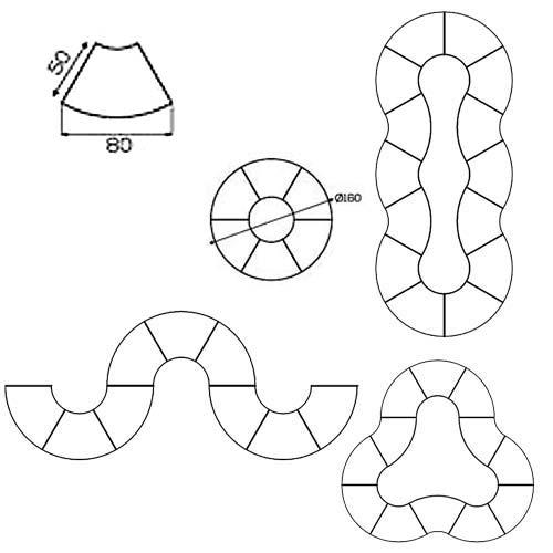 Pupitre 1/6 círculo 80 x 50 cm detalle 1