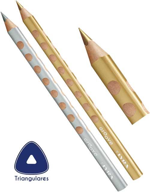 Lápices gruesos triangulares oro y plata
