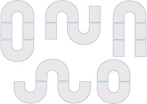 Mesa en U 150 x 100 cm detalle 2