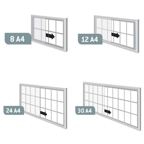 Vitrinas CLOSE con puertas correderas marco color fondo corcho detalle 1