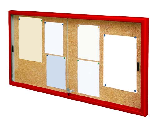 Vitrinas close con puertas correderas marco color fondo corcho