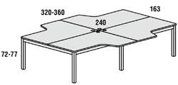 Mesa exe l4, grupo de 4 mesas en l
