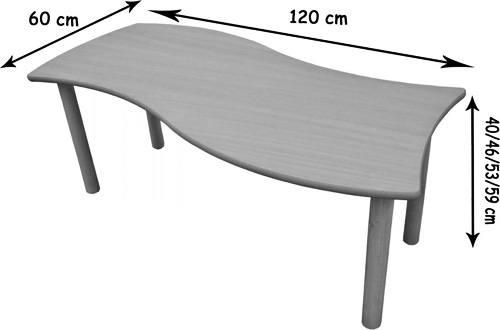 Mesa rectangular Onda detalle 1