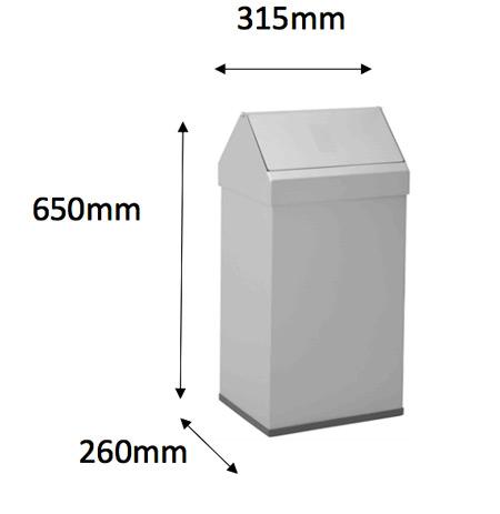 Papelera metal cabezal basculante 41 litros detalle 5