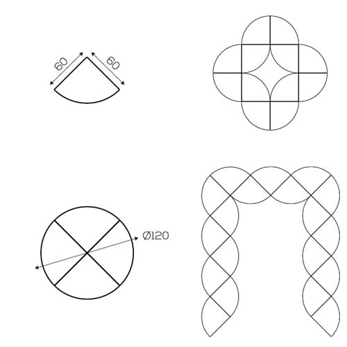 Pupitre 1/4 círculo detalle 1