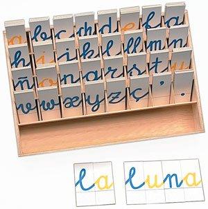 Alfabeto cartón en caja madera 3 juegos