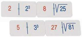 Doble dominó potencias/raíces - fraciones/cuadrados