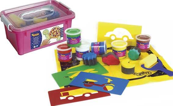 Pintura de dedo caja con esponjas y plantillas