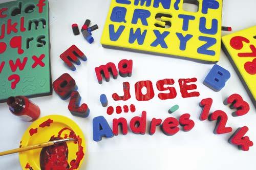 Esponjas de alfabeto en mayúsculas detalle 1