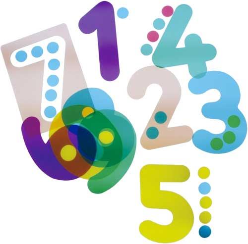Números plantilla traslúcidos del 1 al 0
