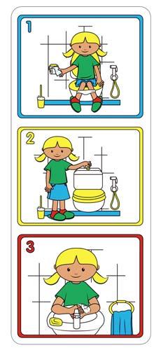 Laminas higiene en el aseo niña