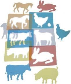 Plantillas animales granja traslúcidas