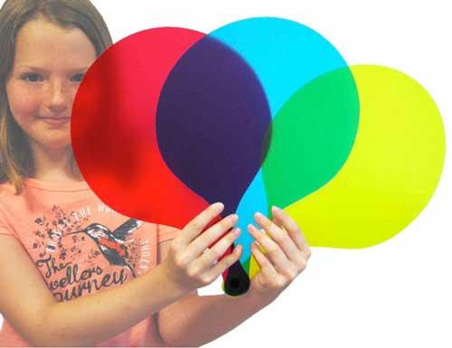 Palas traslúcidas de colores 6 ud