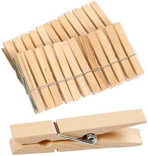 Pinzas madera grandes 74 mm 24 ud