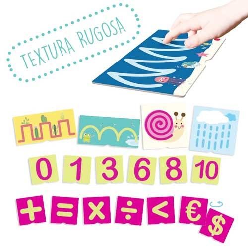 Tacto fichas de números y pre-escritura