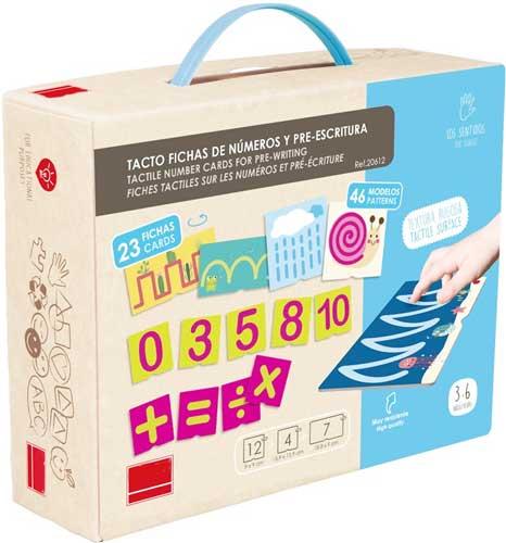 Tacto fichas de números y pre-escritura detalle de la caja