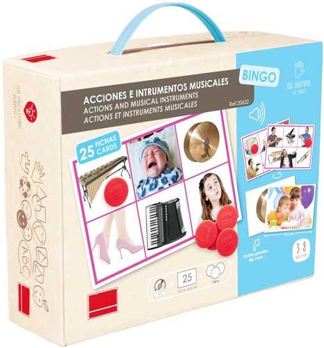 Bingo Acciones e instrumentos musicales detalle de la caja