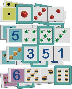 Fichas asociaciones números y cantidades