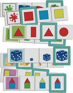 Fichas colores, formas y tamaños