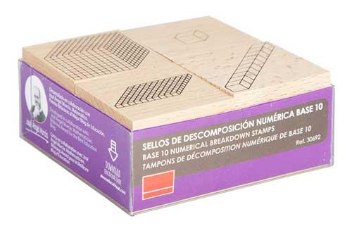 Sellos de descomposición numérica base 10 detalle caja