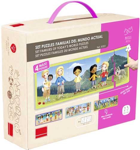 Set puzzles familias del mundo actual  detalle de la caja