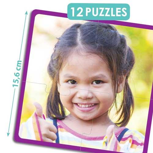 Set 12 puzzles - niños felices del mundo detalle 1