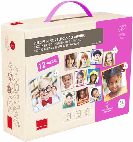 Set 12 puzzles - niños felices del mundo detalle de la caja