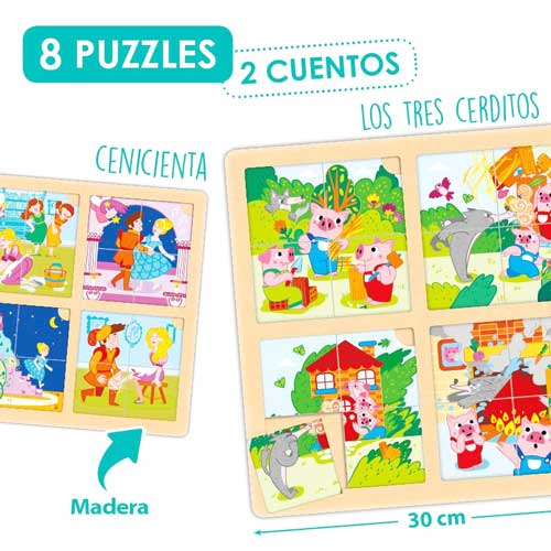 Set puzzle-secuencias: Los 3 cerditos y Cenicienta