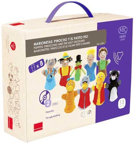 Marionetas: Pinocho y El patito feo detalle de la caja