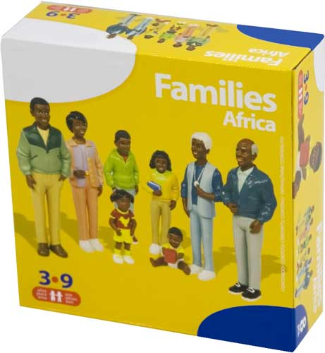 Familia africana 8 figuras detalle de la caja
